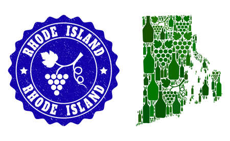 Vector collage of wine map of Rhode Island State and grape grunge seal. Map of Rhode Island State collage created with bottles and grape berries bunches.