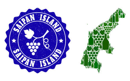 Vector collage of wine map of Saipan Island and grape grunge seal stamp. Map of Saipan Island collage created with bottles and grape berries bunches.