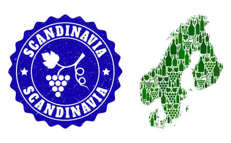 Vector collage of wine map of Scandinavia and grape grunge seal stamp. Map of Scandinavia collage created with bottles and grape berries bunches. Ilustrace