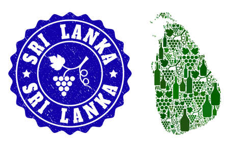 Vector collage of wine map of Sri Lanka and grape grunge seal. Map of Sri Lanka collage formed with bottles and grape berries bunches.