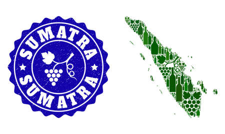 Vector collage of wine map of Sumatra Island and grape grunge seal stamp. Map of Sumatra Island collage designed with bottles and grape berries bunches.