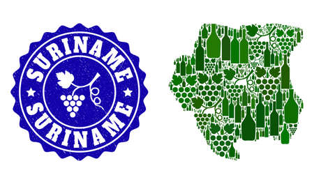Vector collage of wine map of Suriname and grape grunge seal. Map of Suriname collage designed with bottles and grape berries bunches.