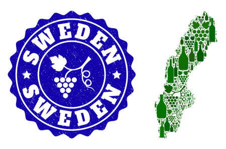 Vector collage of wine map of Sweden and grape grunge seal stamp. Map of Sweden collage designed with bottles and grape berries bunches.