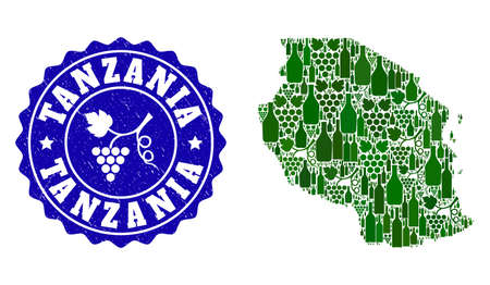 Vector collage of wine map of Tanzania and grape grunge seal stamp. Map of Tanzania collage created with bottles and grape berries bunches.