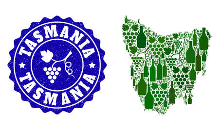 Vector collage of wine map of Tasmania Island and grape grunge stamp. Map of Tasmania Island collage composed with bottles and grape berries bunches.