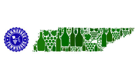 Vector collage of wine map of Tennessee State and grape grunge seal. Map of Tennessee State collage formed with bottles and grape berries bunches.