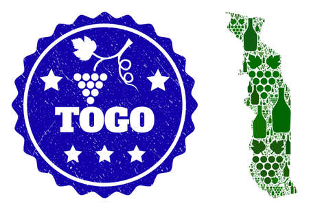 Vector collage of wine map of Togo and grape grunge stamp. Map of Togo collage designed with bottles and grape berries bunches. Ilustrace