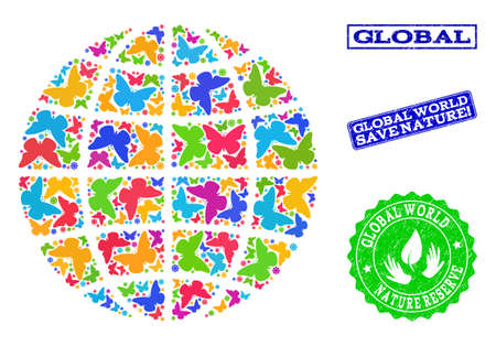Ecological collage of bright mosaic globe and rubber seal stamps with Save Nature text. Mosaic globe designed with bright colored butterflies. Vector watermarks with grunge rubber texture.