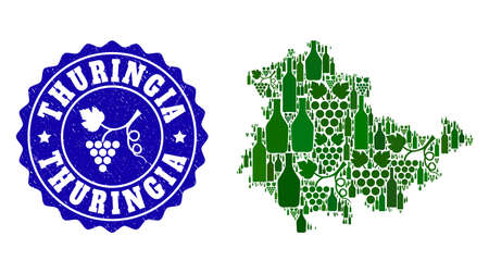 Vector combination of wine map of Thuringia State and grape grunge seal stamp. Map of Thuringia State collage designed with bottles and grape berries bunches.