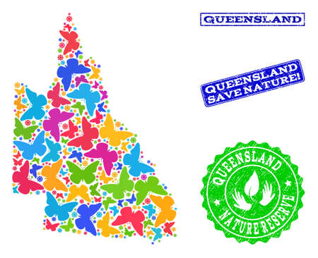 Ecological composition of bright mosaic map of Australian Queensland and rubber seals with Nature Reserve text. Mosaic map of Australian Queensland designed with bright colored butterflies.