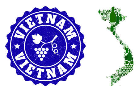 Vector collage of wine map of Vietnam and grape grunge seal stamp. Map of Vietnam collage formed with bottles and grape berries bunches. Ilustrace