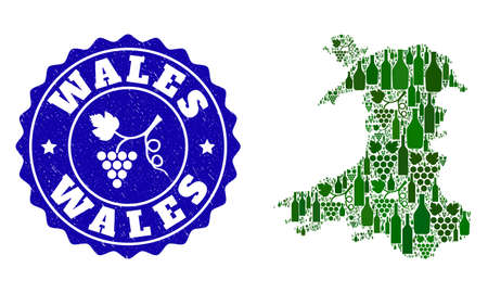 Vector collage of wine map of Wales and grape grunge seal stamp. Map of Wales collage formed with bottles and grape berries bunches.