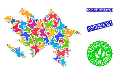 Eco friendly collage of bright mosaic map of Azerbaijan and corroded seals with Save Nature text. Mosaic map of Azerbaijan designed with bright colored butterflies. Ilustrace