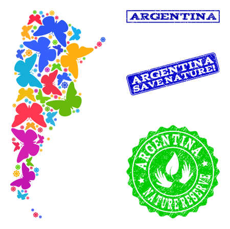 Ecological combination of bright mosaic map of Argentina and unclean seal stamps with Nature Reserve caption. Mosaic map of Argentina designed with bright colored butterflies.