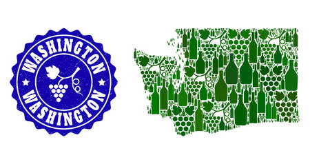 Vector collage of wine map of Washington State and grape grunge stamp. Map of Washington State collage formed with bottles and grape berries bunches.