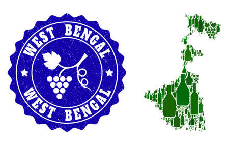Vector collage of wine map of West Bengal State and grape grunge seal. Map of West Bengal State collage created with bottles and grape berries bunches.
