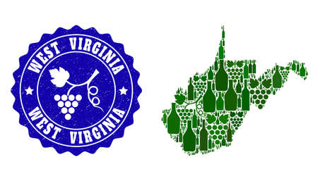 Vector collage of wine map of West Virginia State and grape grunge seal. Map of West Virginia State collage formed with bottles and grape berries bunches.
