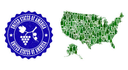 Vector collage of wine map of USA and Alaska and grape grunge seal stamp. Map of USA and Alaska collage formed with bottles and grape berries bunches. Ilustração