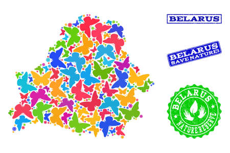 Eco friendly composition of bright mosaic map of Belarus and grunge seal stamps with Nature Reserve text. Mosaic map of Belarus constructed with bright colored butterflies.