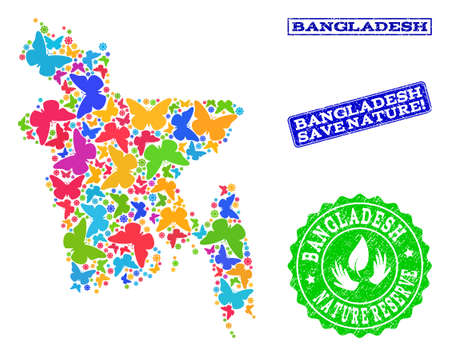 Ecological composition of bright mosaic map of Bangladesh and grunge seals with Save Nature text. Mosaic map of Bangladesh constructed with bright colored butterflies.