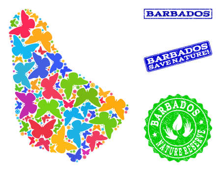 Eco friendly combination of bright mosaic map of Barbados and dirty stamps with Nature Reserve text. Mosaic map of Barbados constructed with bright colored butterflies. Illustration