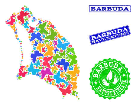 Ecological composition of bright mosaic map of Barbuda Island and scratched seals with Nature Reserve caption. Mosaic map of Barbuda Island designed with colorful butterflies.
