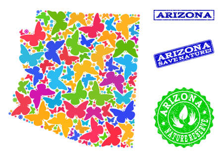 Ecological combination of bright mosaic map of Arizona State and unclean seal stamps with Save Nature caption. Mosaic map of Arizona State constructed with bright colored butterflies.