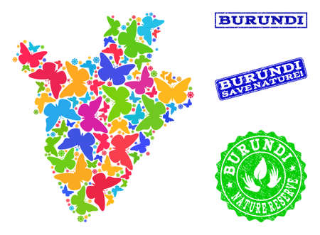 Ecological composition of bright mosaic map of Burundi and grunge stamps with Save Nature caption. Mosaic map of Burundi designed with bright colored butterflies. Ilustrace
