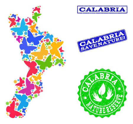 Ecological composition of bright mosaic map of Calabria region and rubber seal stamps with Save Nature caption. Mosaic map of Calabria region constructed with bright colored butterflies. Illustration