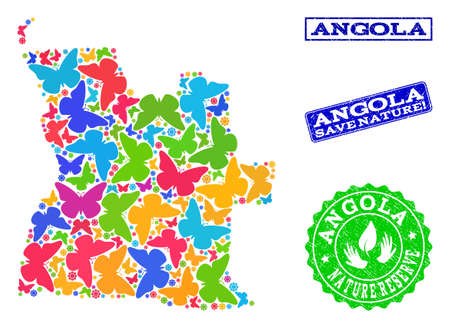 Eco friendly combination of bright mosaic map of Angola and scratched seal stamps with Nature Reserve caption. Mosaic map of Angola constructed with bright colored butterflies.