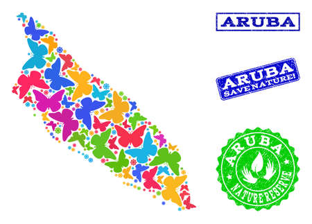 Eco friendly combination of bright mosaic map of Aruba Island and grunge seal stamps with Save Nature caption. Mosaic map of Aruba Island designed with multi-colored butterflies.