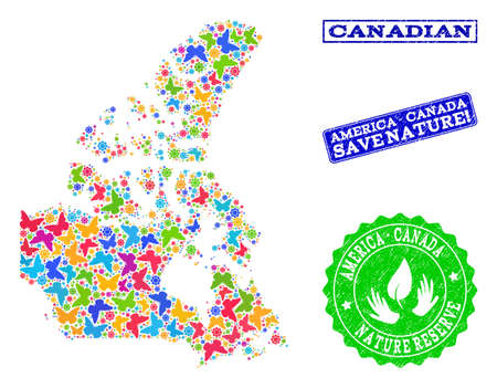 Ecological composition of bright mosaic map of Canada and rubber seal stamps with Nature Reserve text. Mosaic map of Canada constructed with bright colored butterflies.