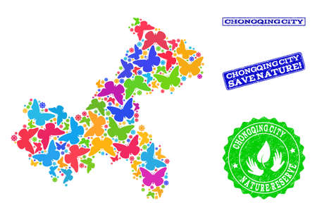 Ecological collage of bright mosaic map of Chongqing Municipality and rubber seals with Save Nature text. Mosaic map of Chongqing Municipality designed with bright colored butterflies.