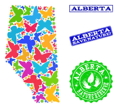 Eco friendly composition of bright mosaic map of Alberta Province and corroded seals with Nature Reserve text. Mosaic map of Alberta Province designed with colorful butterflies.