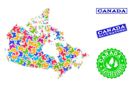 Eco friendly composition of bright mosaic map of Canada and scratched seals with Save Nature caption. Mosaic map of Canada constructed with bright colored butterflies.