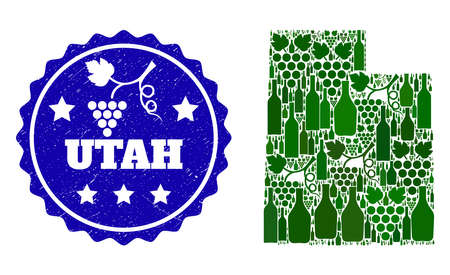 Vector collage of wine map of Utah State and grape grunge stamp. Map of Utah State collage created with bottles and grape berries bunches.