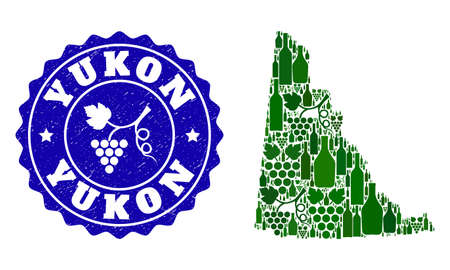 Vector collage of wine map of Yukon Province and grape grunge seal stamp. Map of Yukon Province collage composed with bottles and grape berries bunches.