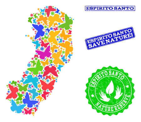 Eco friendly collage of bright mosaic map of Espirito Santo State and textured seal stamps with Nature Reserve text. Mosaic map of Espirito Santo State designed with bright colored butterflies.