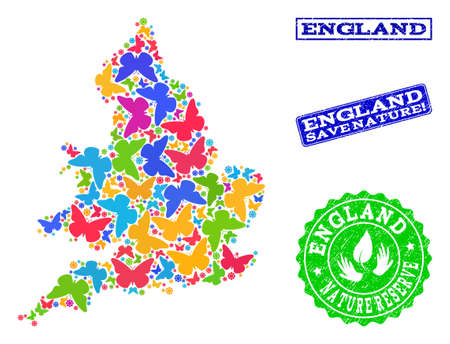 Eco friendly collage of bright mosaic map of England and corroded seals with Nature Reserve caption. Mosaic map of England constructed with bright colored butterflies.