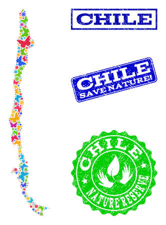 Eco friendly composition of bright mosaic map of Chile and rubber stamps with Save Nature caption. Mosaic map of Chile constructed with bright colored butterflies. Ilustrace