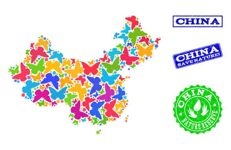 Eco friendly combination of bright mosaic map of China and unclean seals with Save Nature caption. Mosaic map of China designed with bright colored butterflies.
