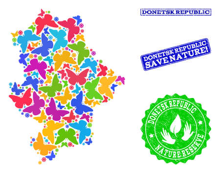 Eco friendly collage of bright mosaic map of Donetsk Republic and rubber seal stamps with Save Nature text. Mosaic map of Donetsk Republic constructed with multi-colored butterflies.