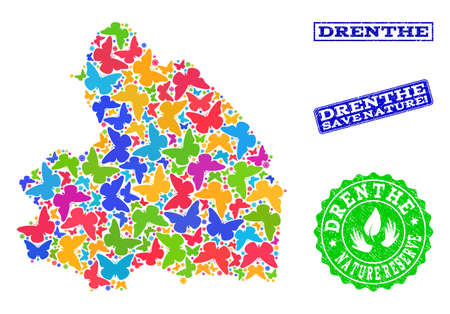 Eco friendly composition of bright mosaic map of Drenthe Province and corroded seal stamps with Save Nature caption. Mosaic map of Drenthe Province designed with bright colored butterflies. Ilustrace