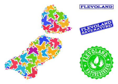 Eco friendly collage of bright mosaic map of Flevoland Province and grunge stamps with Nature Reserve caption. Mosaic map of Flevoland Province designed with bright colored butterflies.