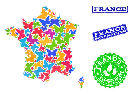 Ecological combination of bright mosaic map of France and rubber seals with Save Nature caption. Mosaic map of France constructed with bright colored butterflies.