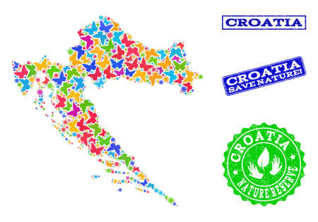 Ecological combination of bright mosaic map of Croatia and grunge seal stamps with Nature Reserve text. Mosaic map of Croatia constructed with bright colored butterflies. Illustration