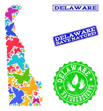 Ecological composition of bright mosaic map of Delaware State and grunge seals with Nature Reserve caption. Mosaic map of Delaware State constructed with colorful butterflies.