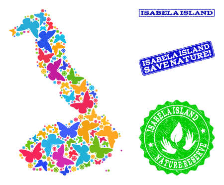 Ecological collage of bright mosaic map of Galapagos - Isabela Island and grunge stamps with Save Nature caption. Mosaic map of Galapagos - Isabela Island designed with bright colored butterflies.