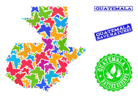 Ecological collage of bright mosaic map of Guatemala and rubber seal stamps with Nature Reserve text. Mosaic map of Guatemala constructed with bright colored butterflies.
