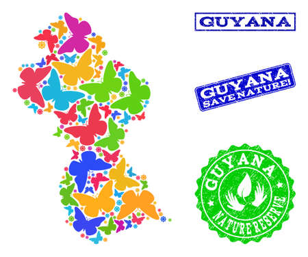 Eco friendly composition of bright mosaic map of Guyana and textured seals with Save Nature text. Mosaic map of Guyana constructed with bright colored butterflies. Reklamní fotografie - 124208930